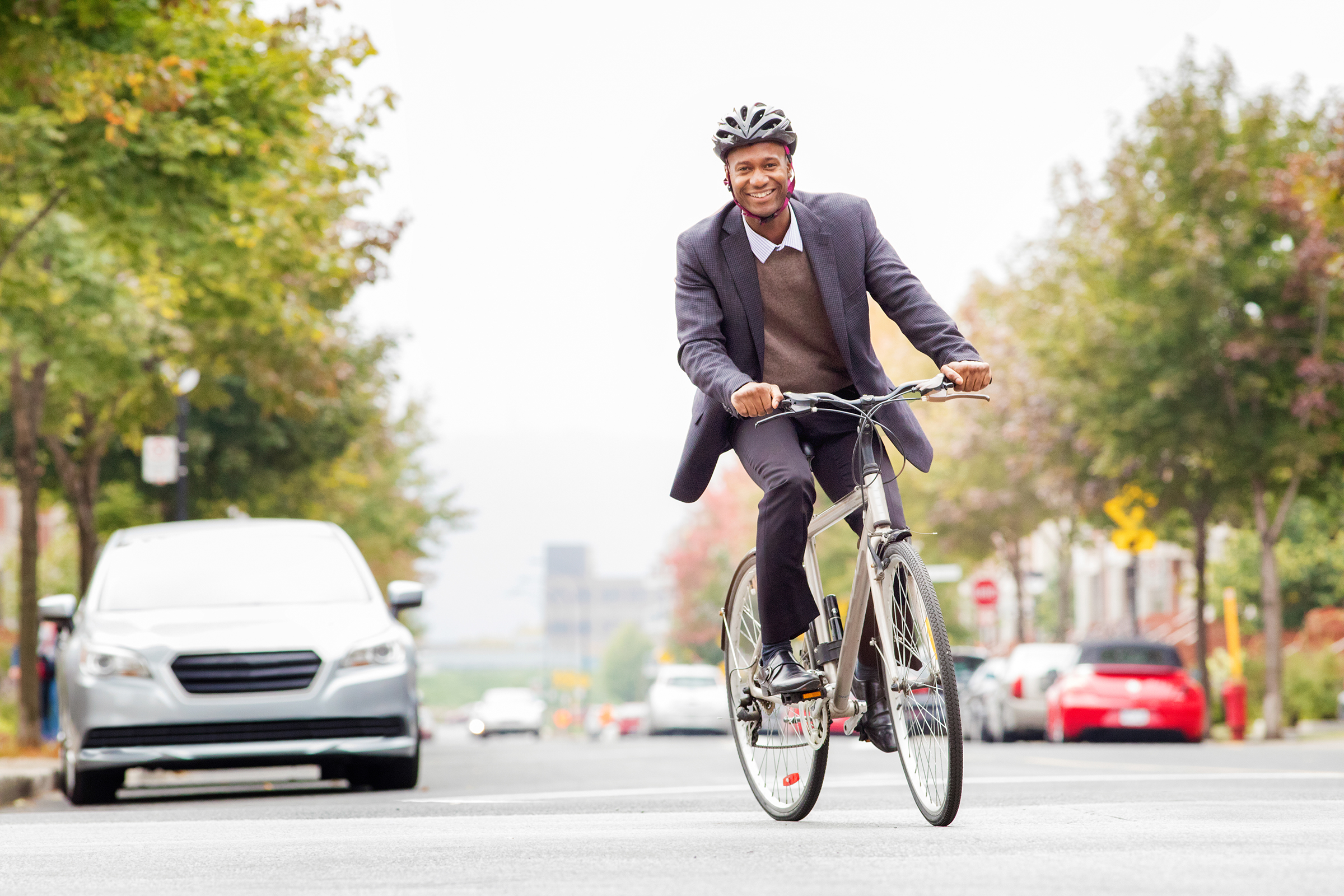Man commuting to work by bicycle